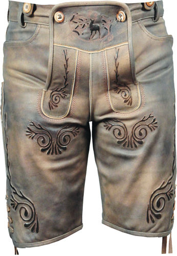 Costume short leather pants for mens and womens, Lederhosen in Beige olive