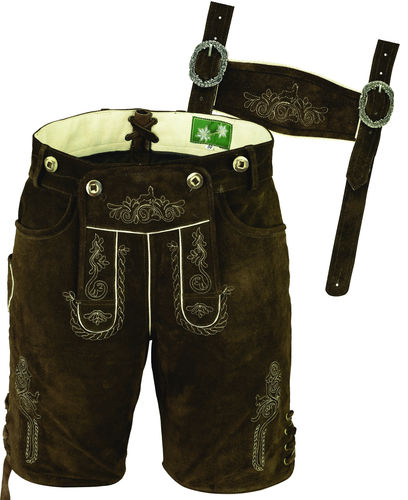 Costume short leather pants for mens and womens, Lederhosen in Brown