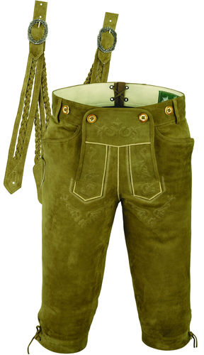 Costume Leather Pants-Lederhosen Mens in Genuine Goat sued Leather-Color Beige