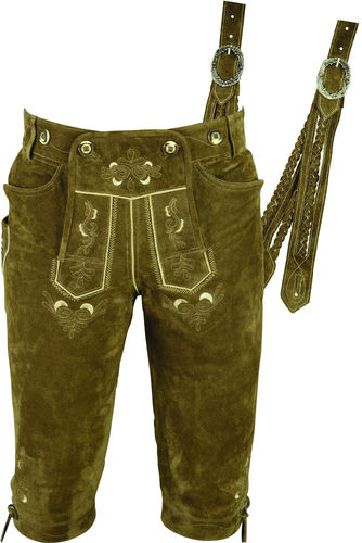 Costume Mens Knickerbockers Pants in Cow sued Leather, Beigeolive