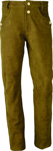 Long Leather Pants Trachten in Genuine Nubuck Leather, Camel