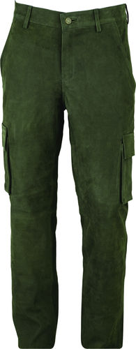Cargo Hunting Leather Trousers long in Real Nubuck Leather green Olive