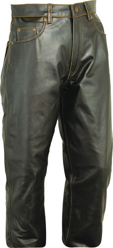 Cargo Hunting Leather Trousers long in Real antique Leather Brown