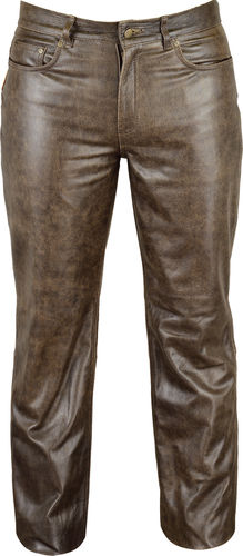 Slim fit leather jeans trousers long in antique brown