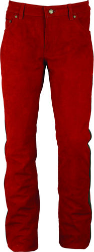 Real Nubuck Leather Slim fit Pants long in Red