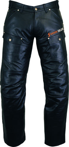 Cargo Motorcycle Leather Pants Mens in Genuine Cowhide Leather Black