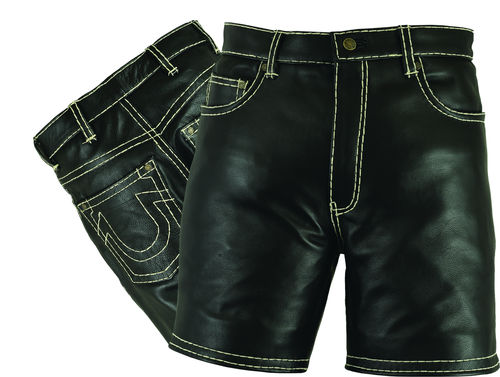 Mens Short Leather pants in Genuine Cowhide Black
