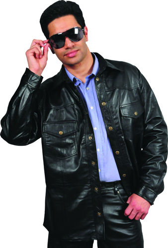 Mens Leather Shirt in Genuine Goat Nappa Black