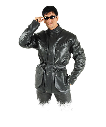 Mens Motorcyle leather jacket in black