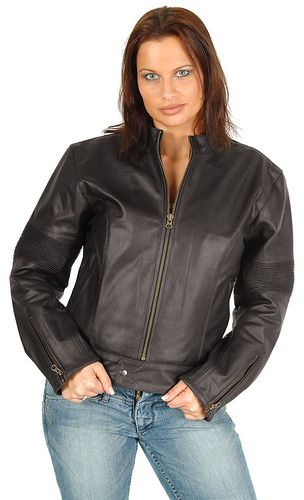 Womens Motorcyle leather jacket in brown
