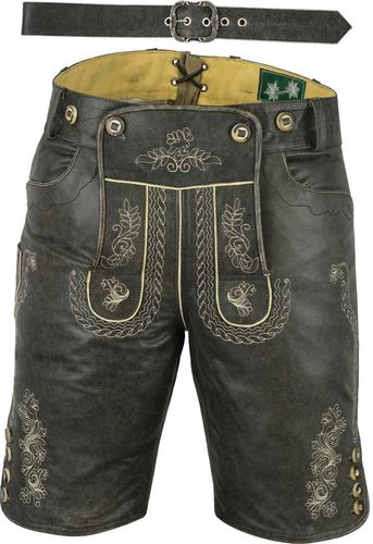 Genuine Nappa Leather Short Leather Pant with Zip and Belt