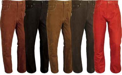 501 Leather Jeans in Genuine Nubuck Leather Pants long-5 colors