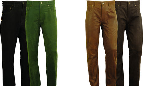 Five Pocket Leather jeans-Mens Leather Pants long in 5 colors