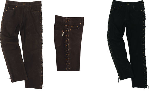 Laced Motorcycle leather pants mens- Black/Brown