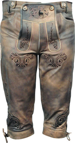Costume Knickerbockers Leather Trousers in Genuine Cow antique real Leather