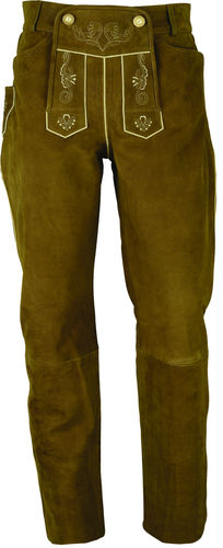 Trachten long Costume Lederhose in Genuine Nubuck Leather Pants in Color Camel