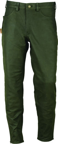 Genuine Hutning Leather Boot Trousers Nubuck in Green olive