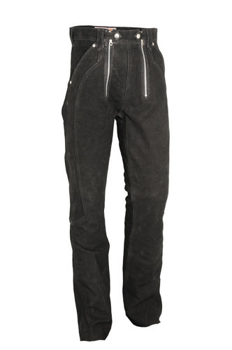 Leather Carpenter Pants long Genuine Nubuck in Black