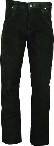 Unisex Leather Pants long in Genuine Nubuck Leather Black