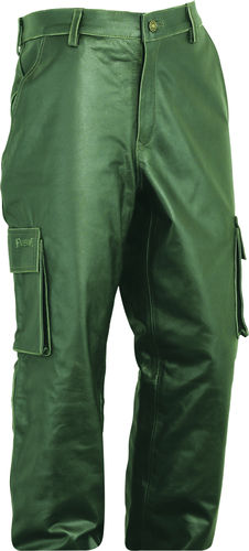 Cargo Hunting Leather Trousers long in Real antique Leather green Olive