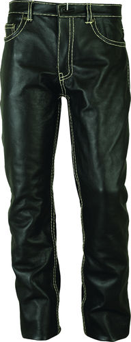 Mens Classic, Motorcycle leather pants long in black