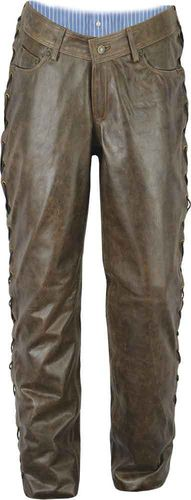 Laced Motorcycle leather pants mens-black