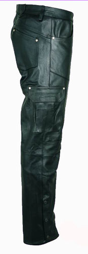 Motorcycle Leather Trousers- Cargo Genuine Cowhide Leather Pants -Black