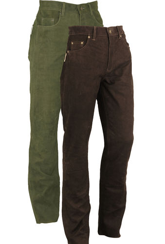 Hunting Leather Trousers long in Genuine Nubuck Leather