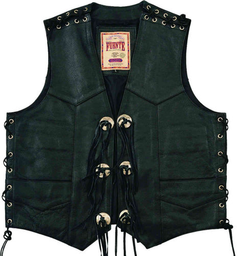 Biker Leather Gilet Noir