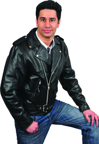 Mens Brando Motorcycle leather jacketsin black