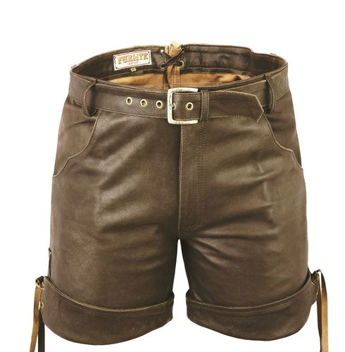 Genuine Nubuck Leather Short Leather Pant with Zip