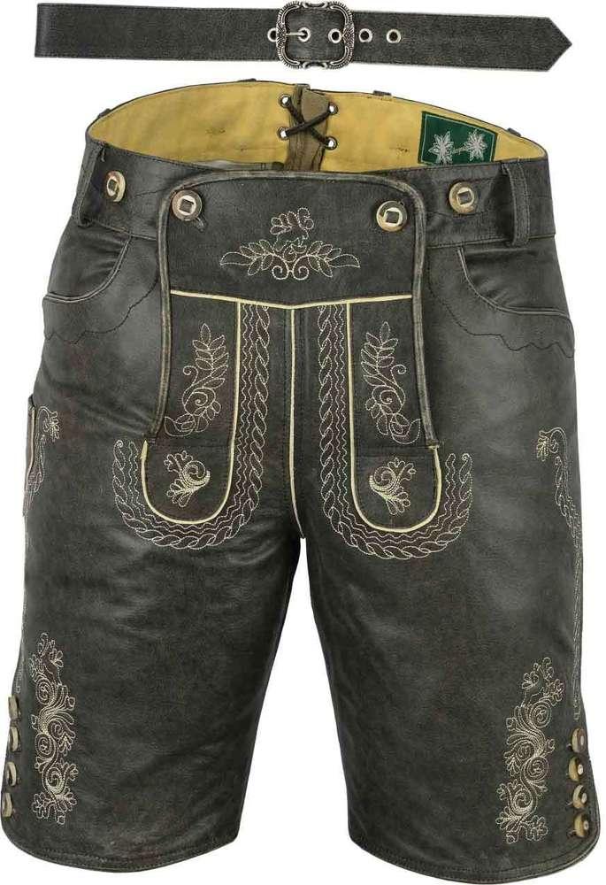 5056dd673fa0c0 Kurze Trachten Lederhose mit Gürtel antik- Lederhose mit Gürtel- Kurze  Lederhose Herren günstig