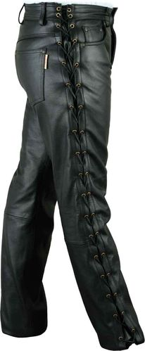 Laced Motorcycle leather pants mens- Black